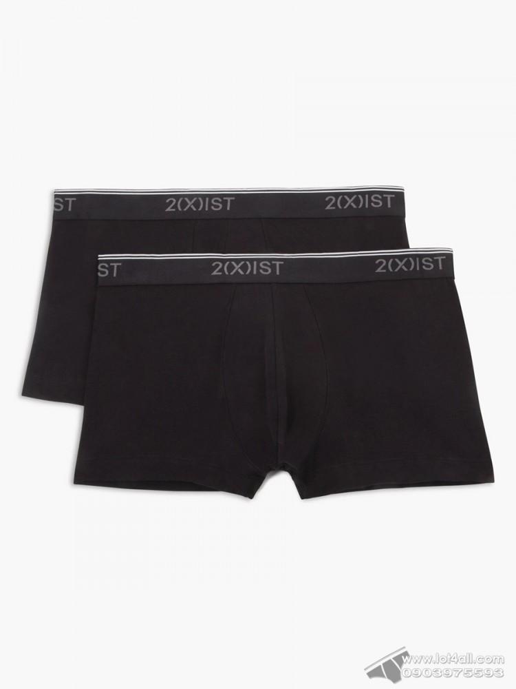 Quần lót nam 2(x)ist Cotton Stretch No-Show Trunk 2-pack Black