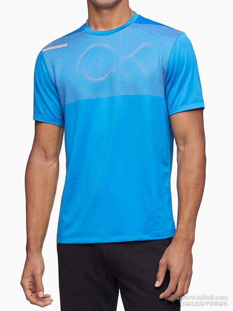 Áo thun nam Calvin Klein 4517 Linear Wave Logo Crewneck T-Shirt Electric Blue