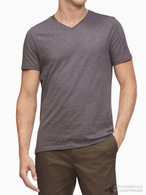 Áo thun nam Calvin Klein 6301 Liquid Touch Slim Fit V-neck T-Shirt Storm Grey