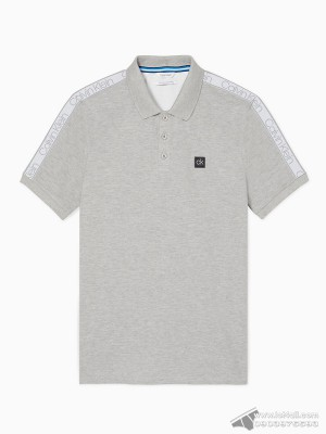 Áo thun nam Calvin Klein 6842 Regular Fit Logo Band Stripe Polo Shirt History Heather