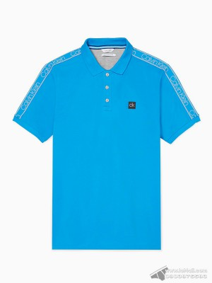 Áo thun nam Calvin Klein 6842 Regular Fit Logo Band Stripe Polo Shirt Dresden Blue