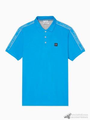 Áo thun nam Calvin Klein 6842 Regular Fit Logo Band Stripe Polo Shirt Dresden Blue