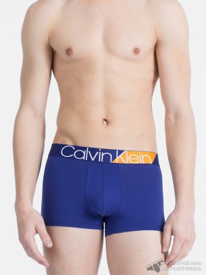 Quần lót nam Calvin Klein NB1680 Bold Accents Cotton Trunk Bright Indigo