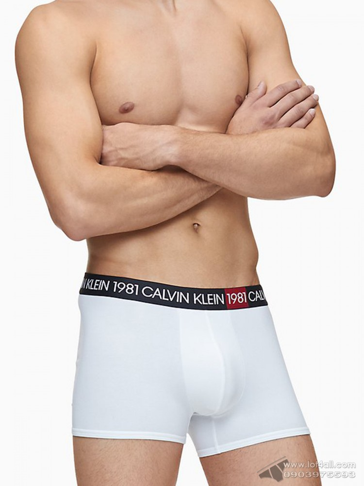 Quần lót nam Calvin Klein NB2050 Bold 1981 Cotton Trunk White