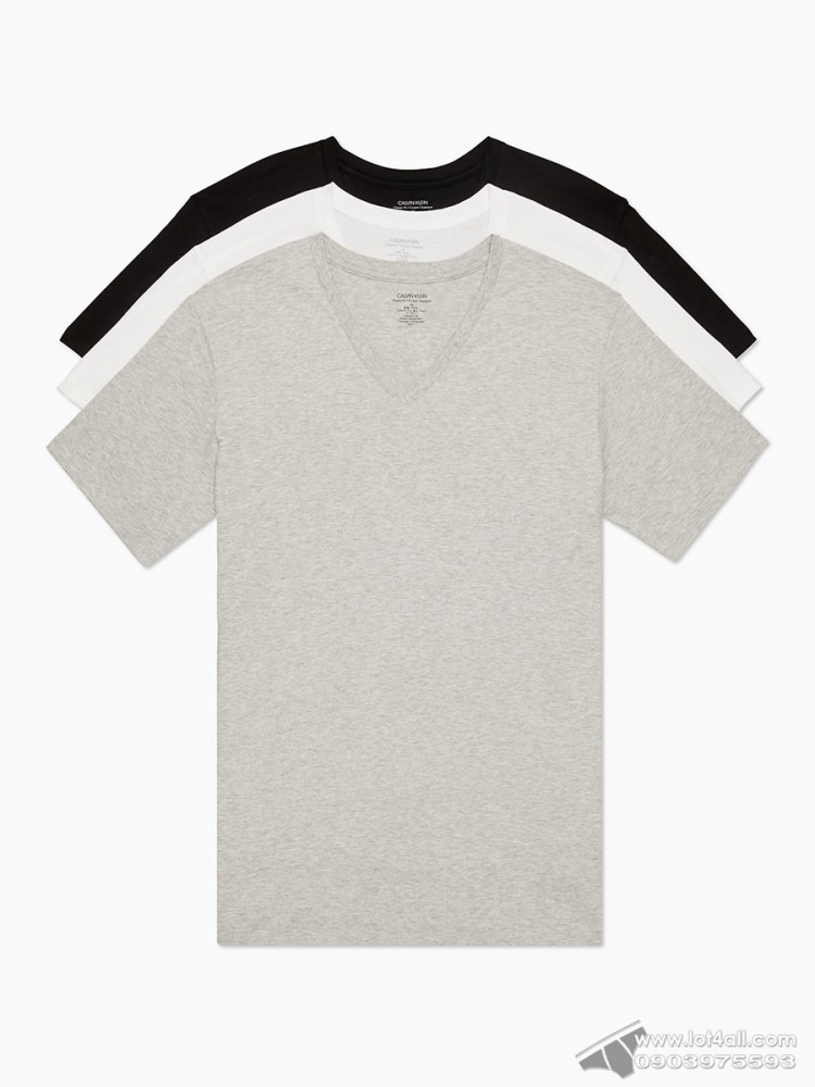 Áo lót nam Calvin Klein NB4012 Cotton Classic Fit V-Neck Tee 3-pack Black/Grey/White