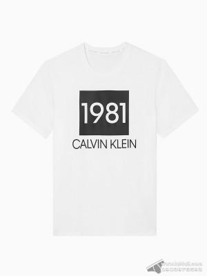 Áo thun nam Calvin Klein NM1708 Bold 1981 Crewneck T-Shirt White