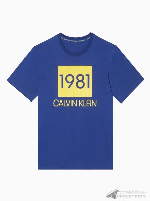Áo thun nam Calvin Klein NM1708 Bold 1981 Crewneck T-Shirt Blue Depth