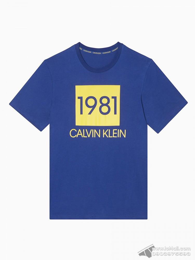 Áo thun nam Calvin Klein NM1708 Bold 1981 Crewneck T-Shirt Blue Depth