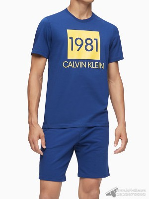 Quần short nam Calvin Klein NM1709 Bold 1981 Lounge Short Blue Depth