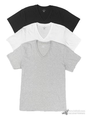 Áo lót nam Calvin Klein NP2209O Slim Fit V-Neck Tee 3-pack Black/Grey/White