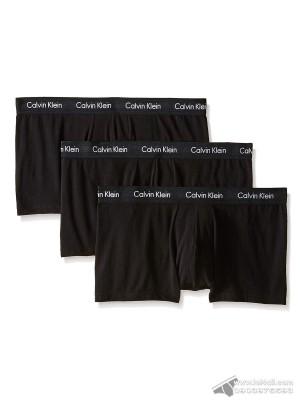 Quần lót nam Calvin Klein NU2664 Cotton Stretch Low Rise Trunk 3-pack All Black