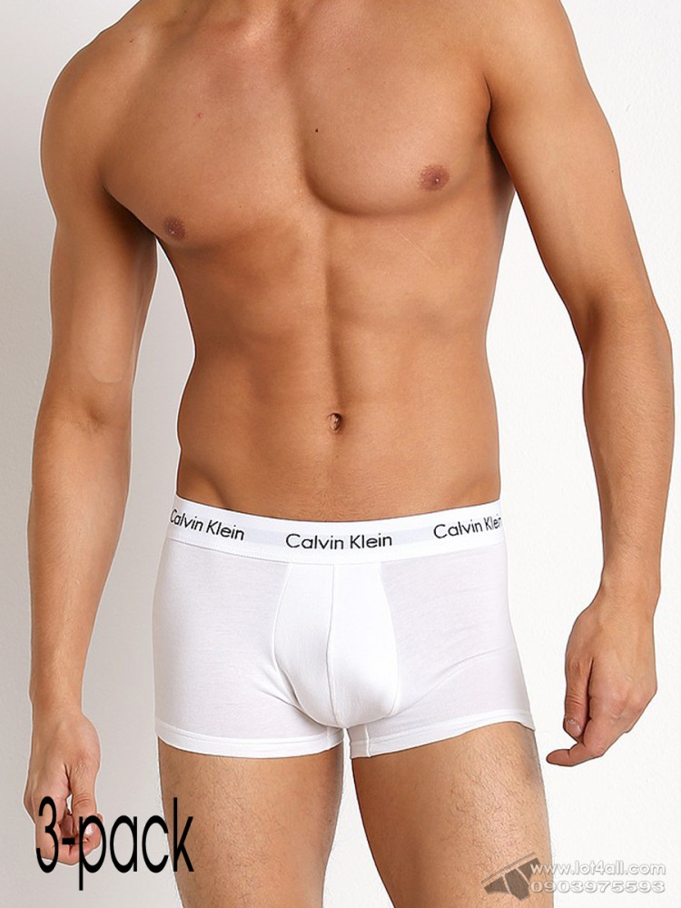 Quần lót nam Calvin Klein NU2664 Cotton Stretch Low Rise Trunk 3-pack All White