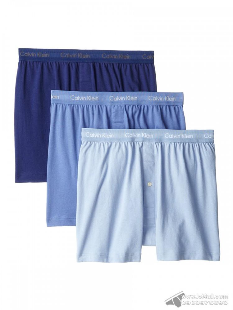 Quần boxer nam Calvin Klein NU3040 Cotton Classic Knit Boxer 3-pack Blue Assorted