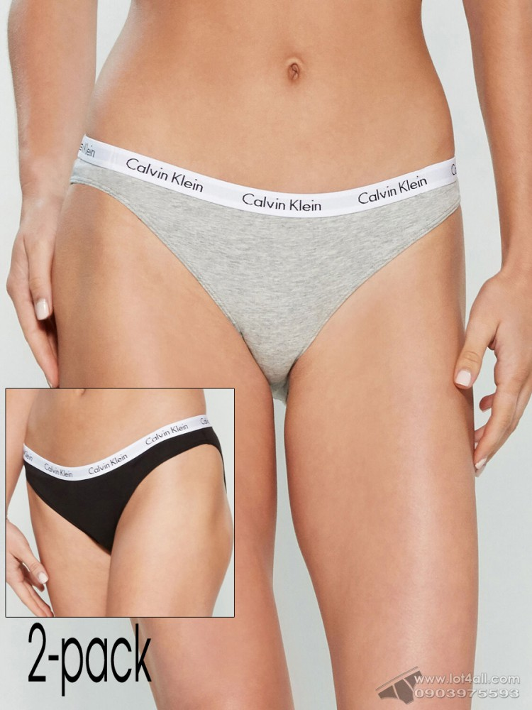Quần lót nữ Calvin Klein QD1646O Logo Waist Bikini Panty 2-pack Black/Grey