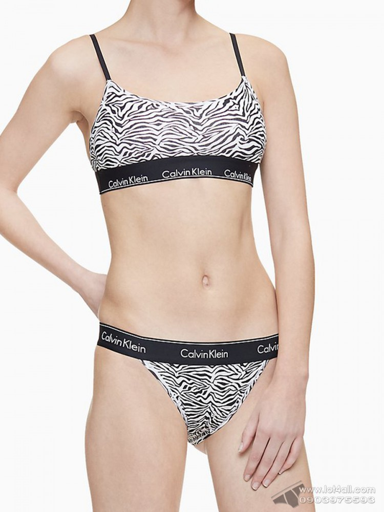 Quần lót nữ Calvin Klein QF4977 Modern Cotton High Leg Tanga Sandstone