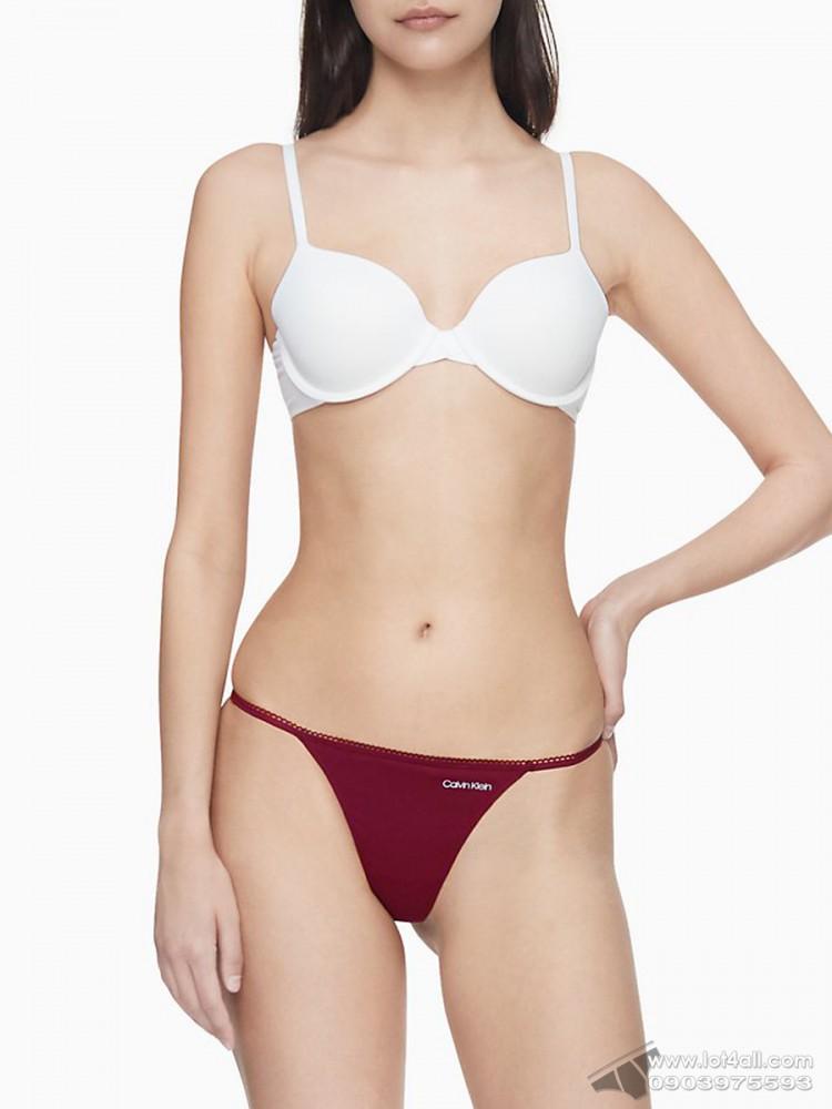 Quần lót nữ Calvin Klein QP1514O Logo Cotton String Thong Maraschino