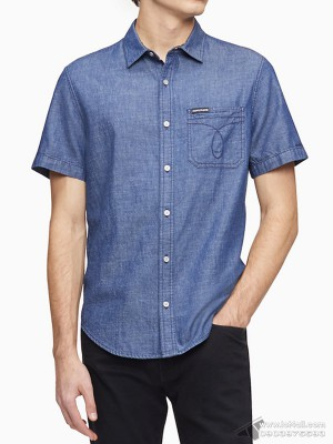 Áo sơ mi nam Calvin Klein Chambray Omega Stitch Short Sleeve Shirt Wyoming