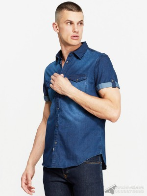Áo sơ mi nam Calvin Klein Woven Denim Short Sleeve Shirt Indigo