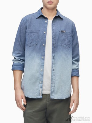 Áo sơ mi nam Calvin Klein Chambray Button Down Long Sleeve Shirt Blue Dip Dye