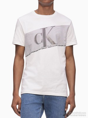 Áo nam Calvin Klein Monogram Logo Flash Stripe Crewneck T-Shirt White