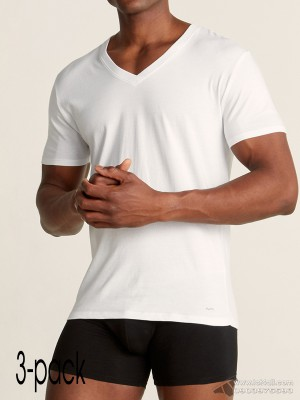 Áo lót nam Michael Kors Performance Cotton V-Neck T-Shirt 3-pack White
