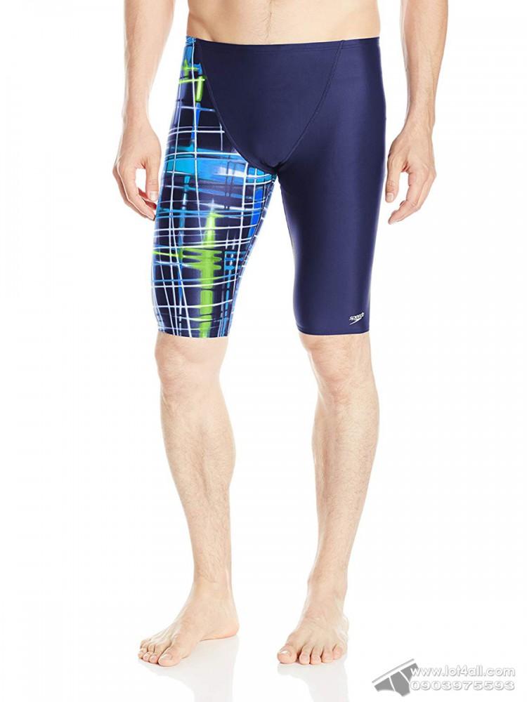 Quần bơi nam Speedo PowerFlex Eco Laser Sticks Jammer Blue/Green