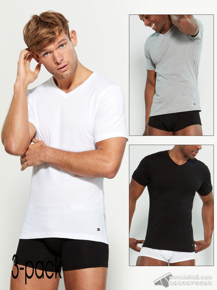 Áo lót nam Tommy Hilfiger Cotton Slim V-Neck Tee 3-pack Multi