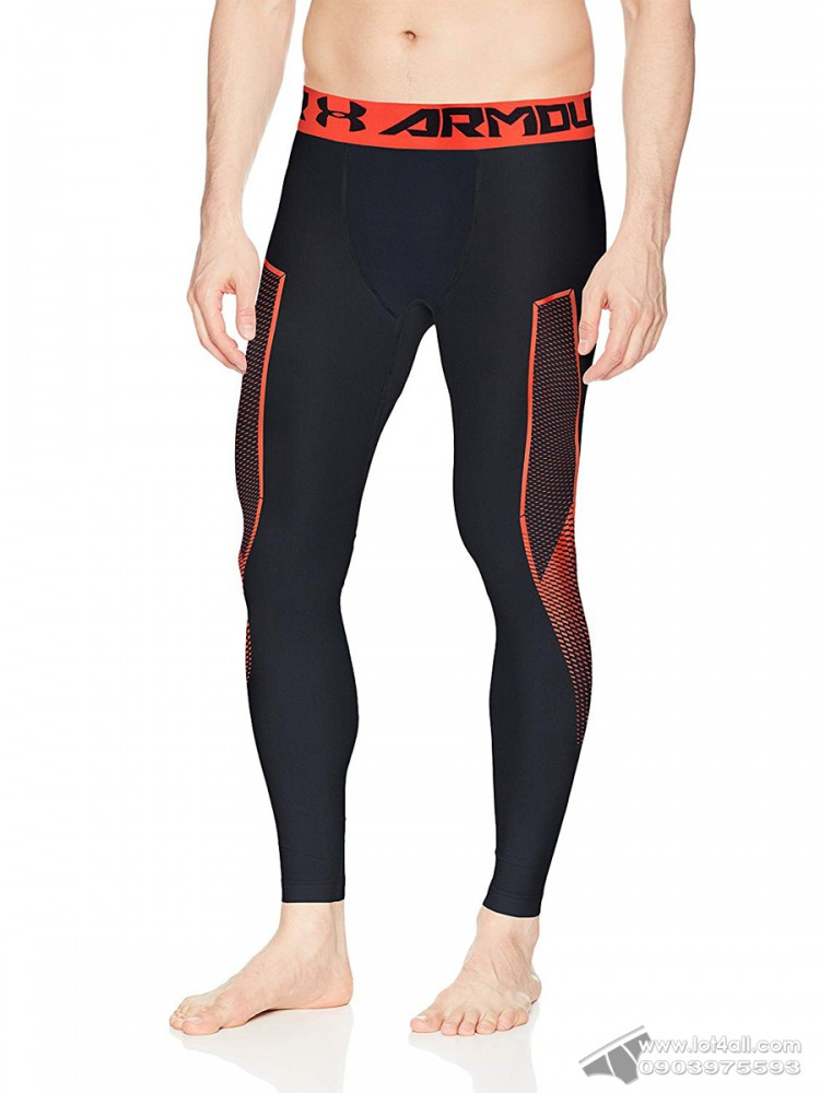 Quần lót nam Under Armour HeatGear Legging Graphite Anthracite/Neon Coral