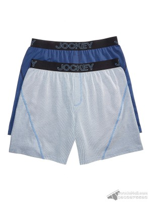 Quần boxer nam Jockey Knit No Bunch 2-pack Blue Pinstripe/Solid