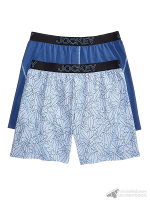 Quần boxer nam Jockey Knit No Bunch 2-pack Blue Navy Flora/Solid