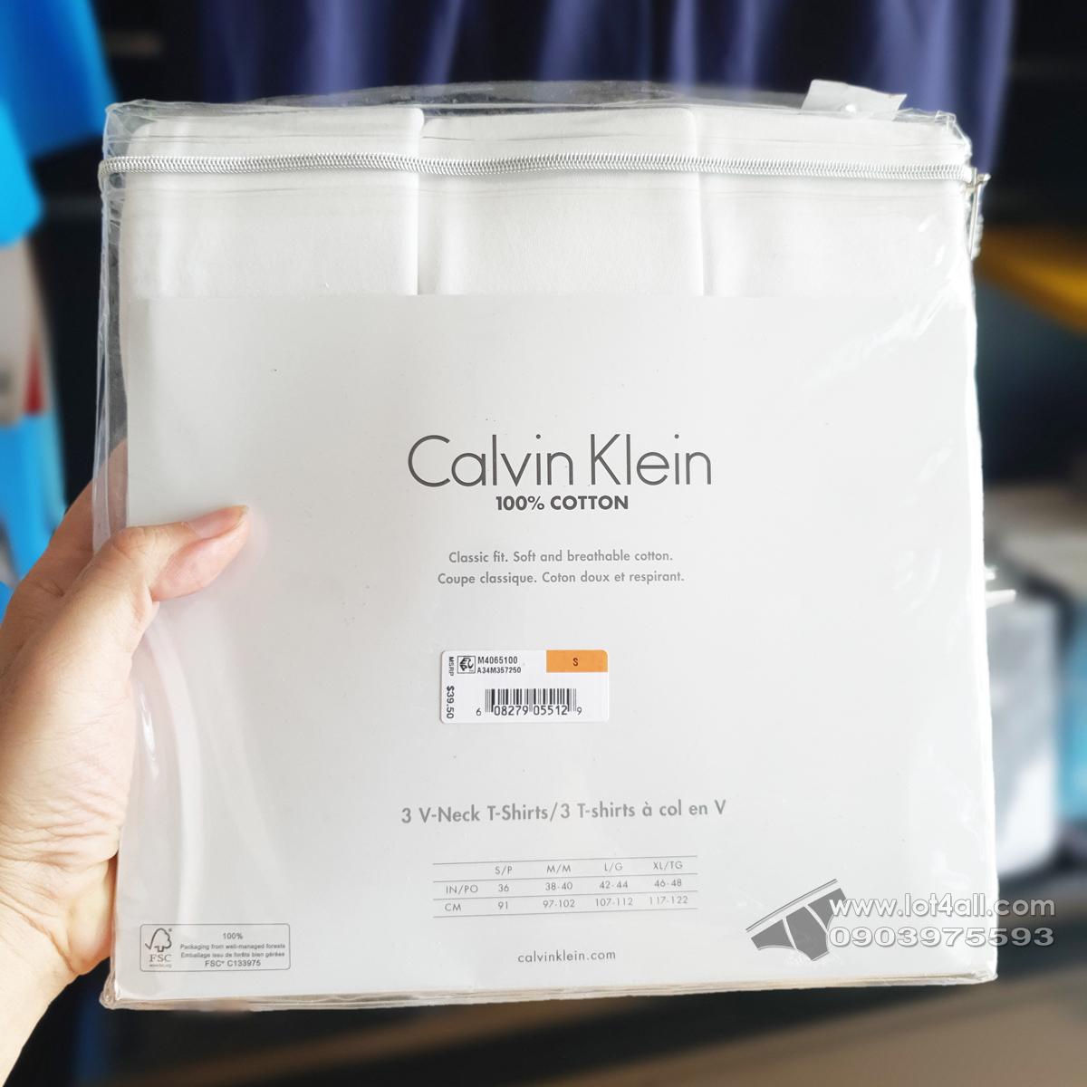 Áo lót nam Calvin Klein M4065 Cotton Classic Fit V-Neck T-Shirt 3-pack White