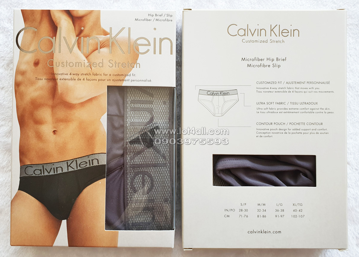 Quần lót nam Calvin Klein NB1294 Customized Stretch Hip Brief Grey Sky