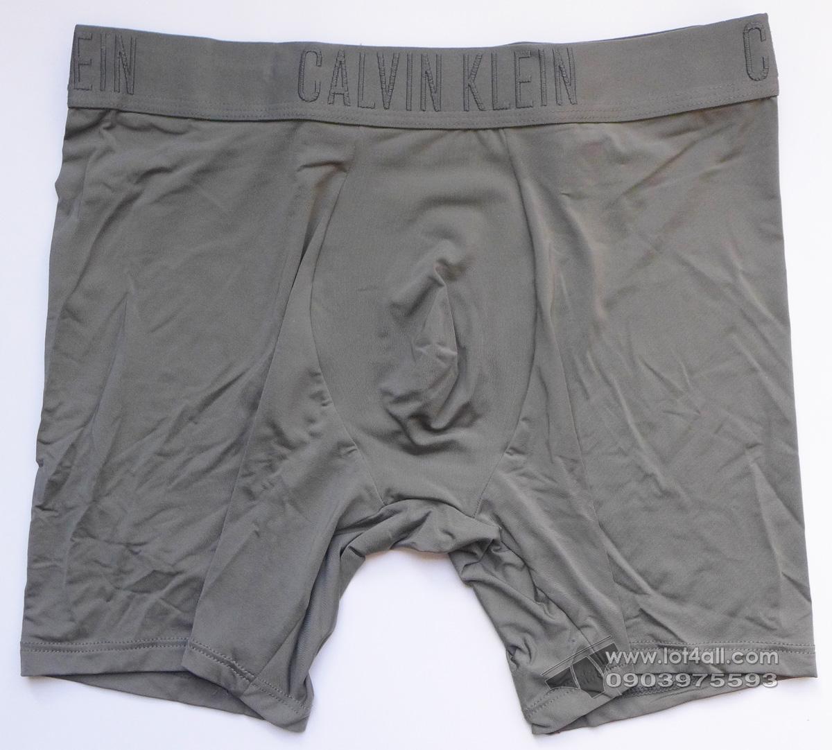 Quần lót nam Calvin Klein NB1305 Black Silky Microfiber Boxer Brief Grey