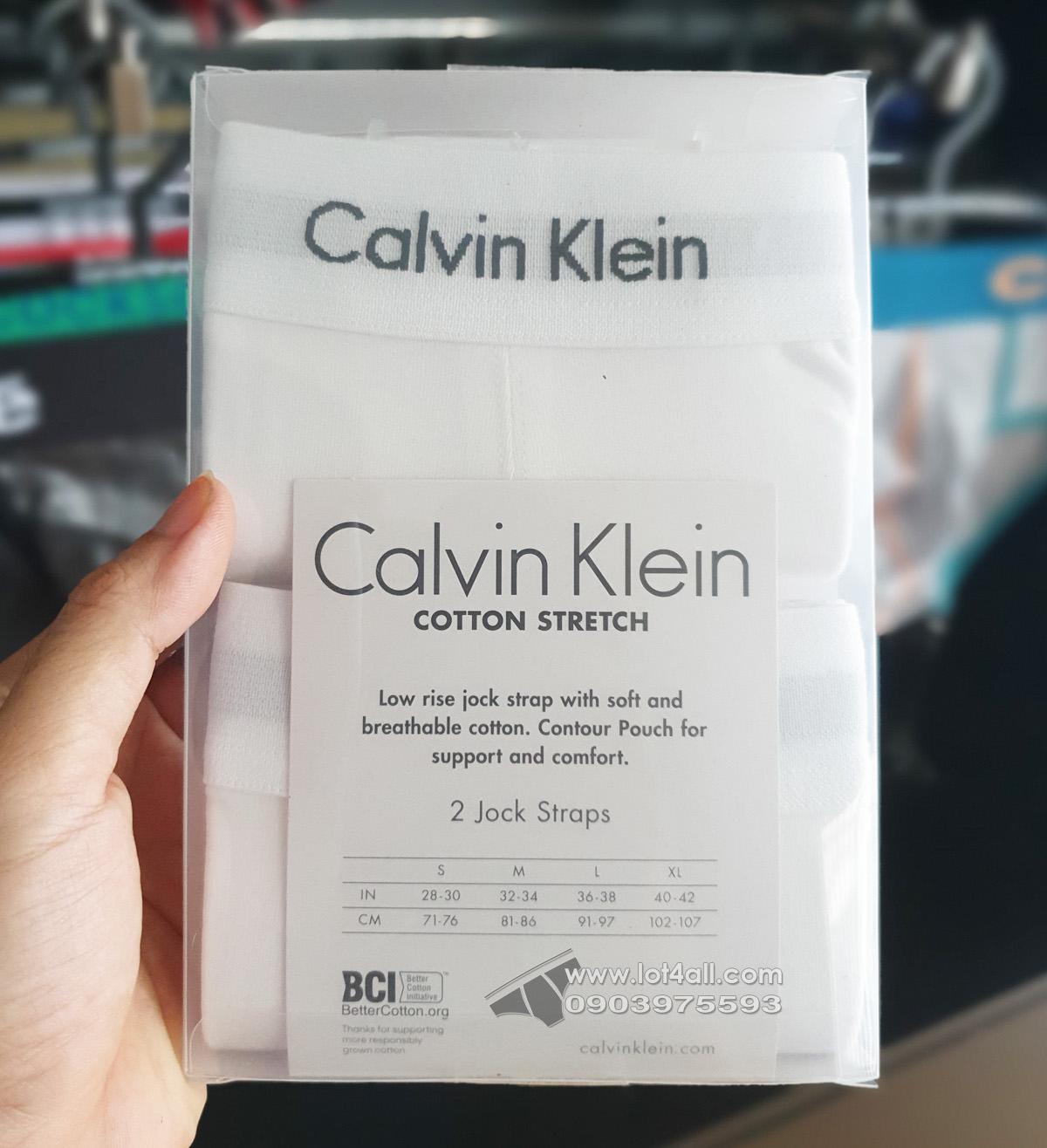 Quần lót nam Calvin Klein NB1354 Cotton Stretch Jockstrap 2-pack White