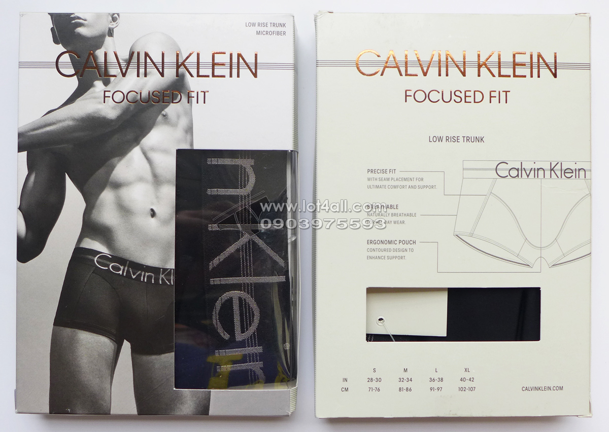 Quần lót nam Calvin Klein NB1486 Focused Fit Low Rise Trunk Black