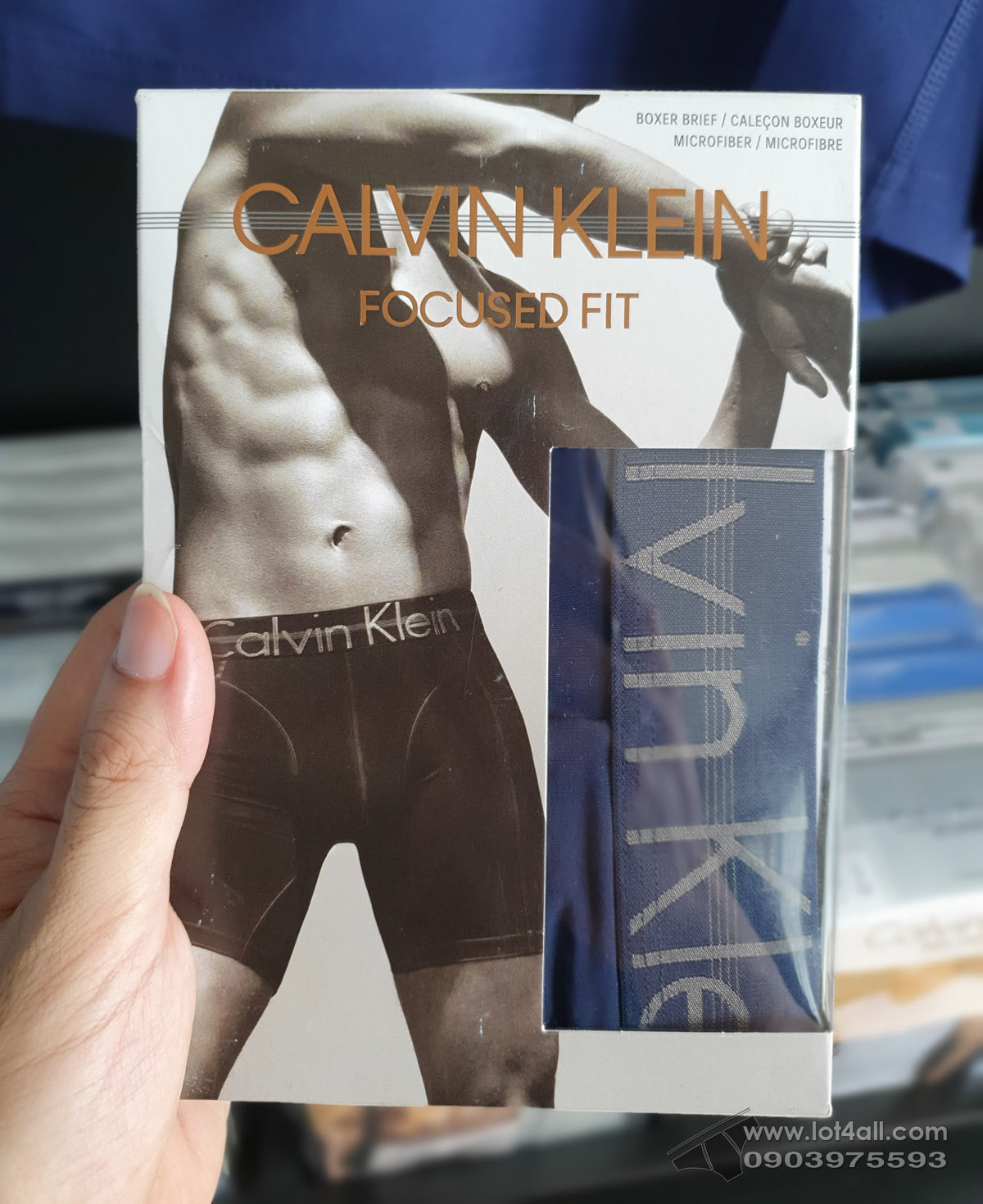 Quần lót nam Calvin Klein NB1487 Focused Fit Micro Boxer Brief Blue Shadow