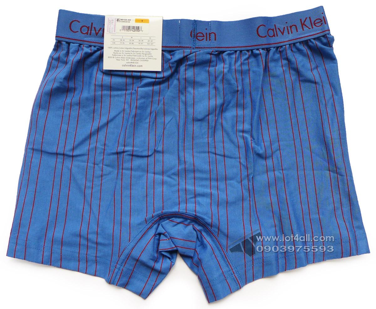 Quần đùi boxer nam Calvin Klein NB1525 Knit Boxer Short Stripe Blue