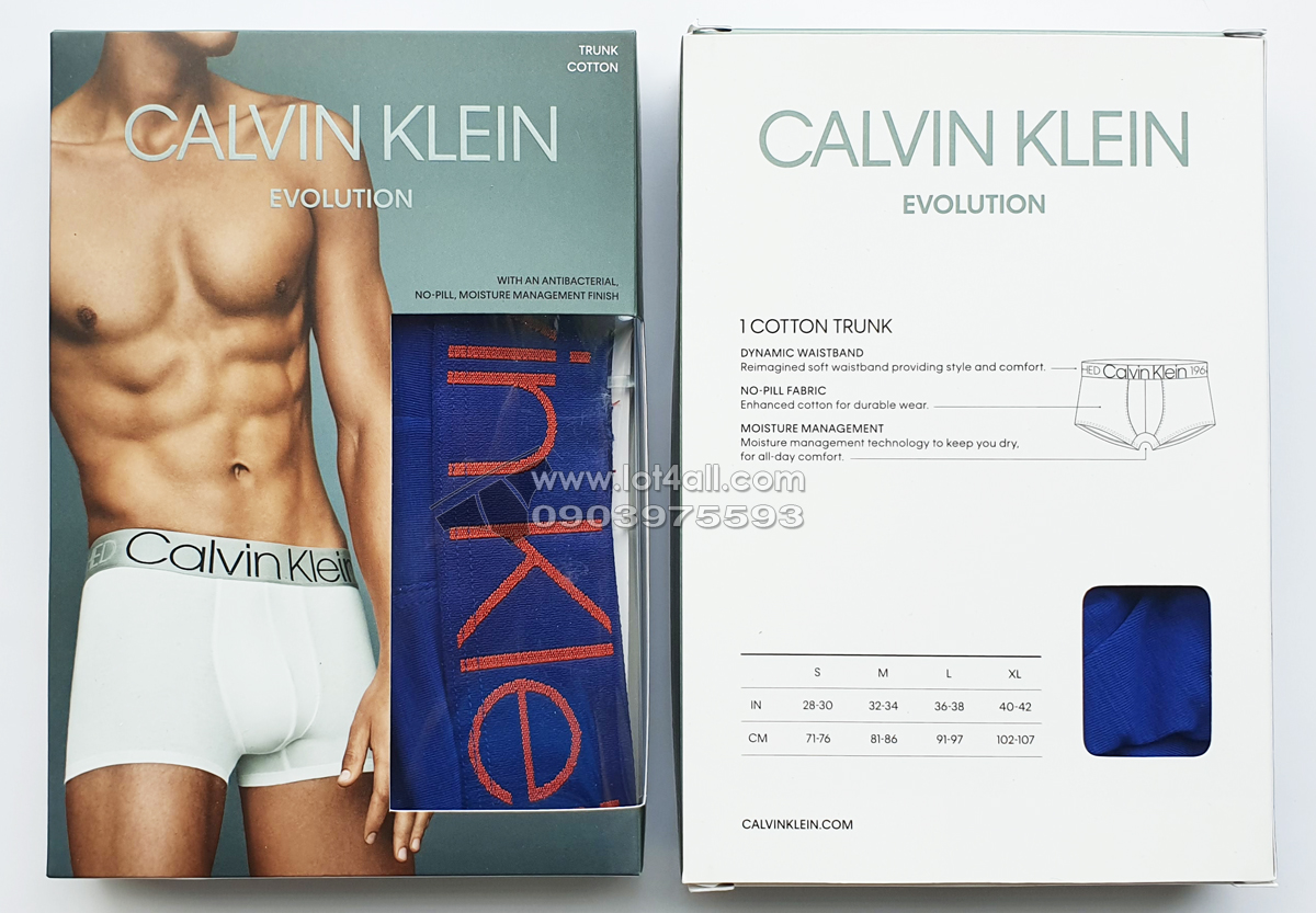 Quần lót Calvin Klein NB1565 Evolution Cotton Trunk Mazarine Blue