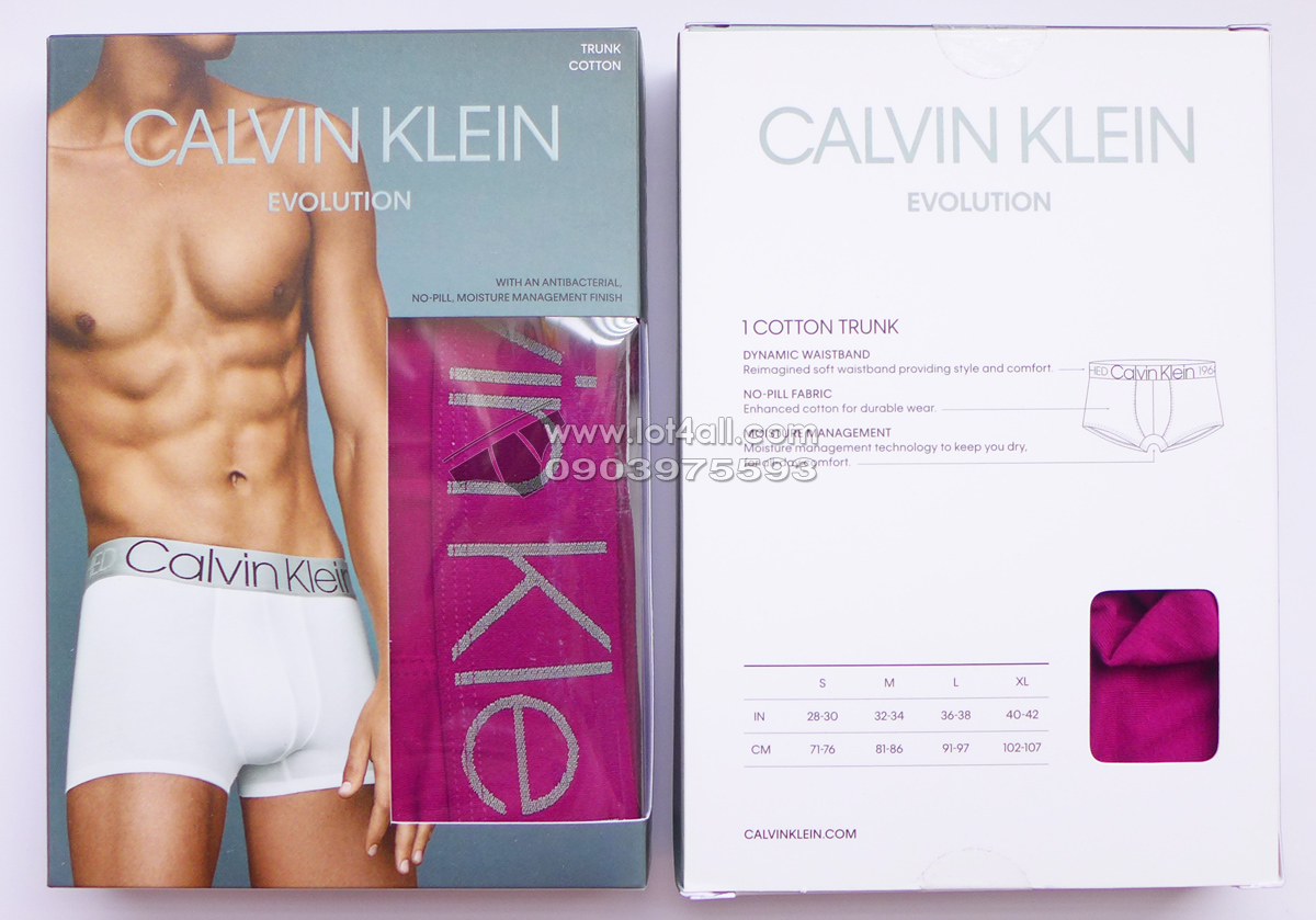 Quần lót Calvin Klein NB1565 Evolution Cotton Trunk Magenta