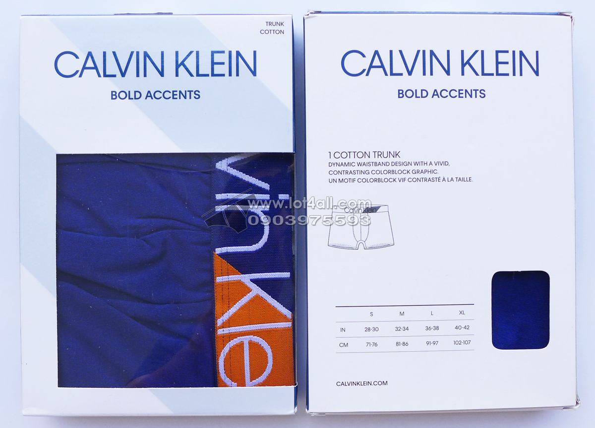 Quần lót Calvin Klein NB1680 Bold Accents Cotton Trunk Bright Indigo