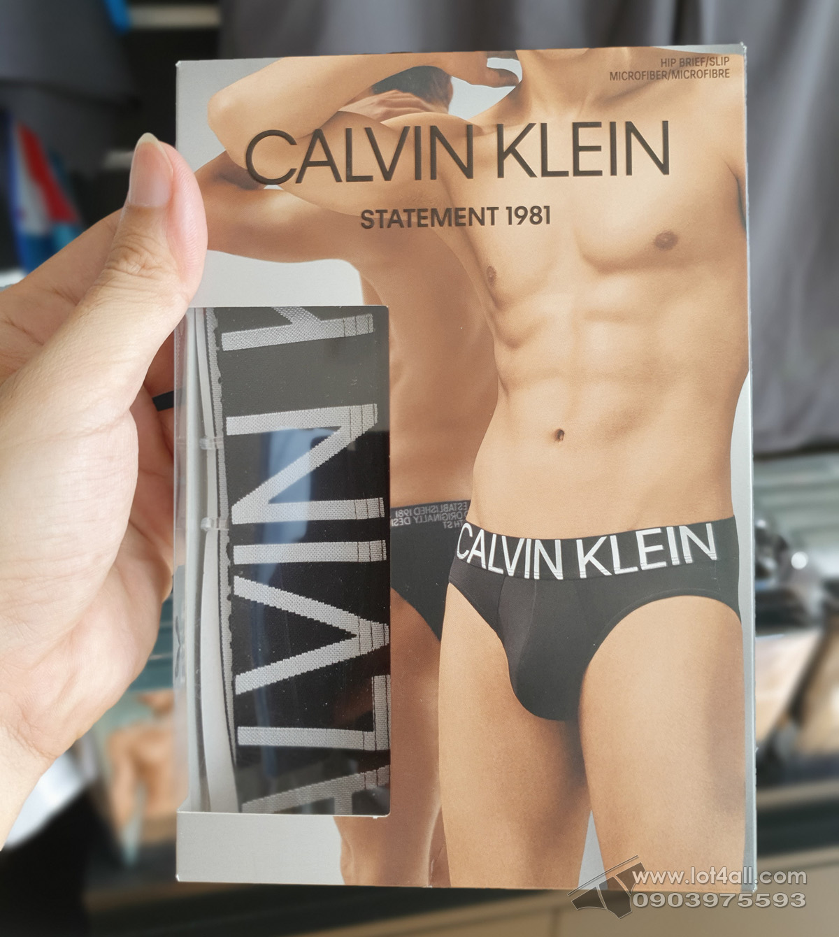 Quần lót nam Calvin Klein NB1701 Statement 1981 Micro Hip Brief Black/White logo