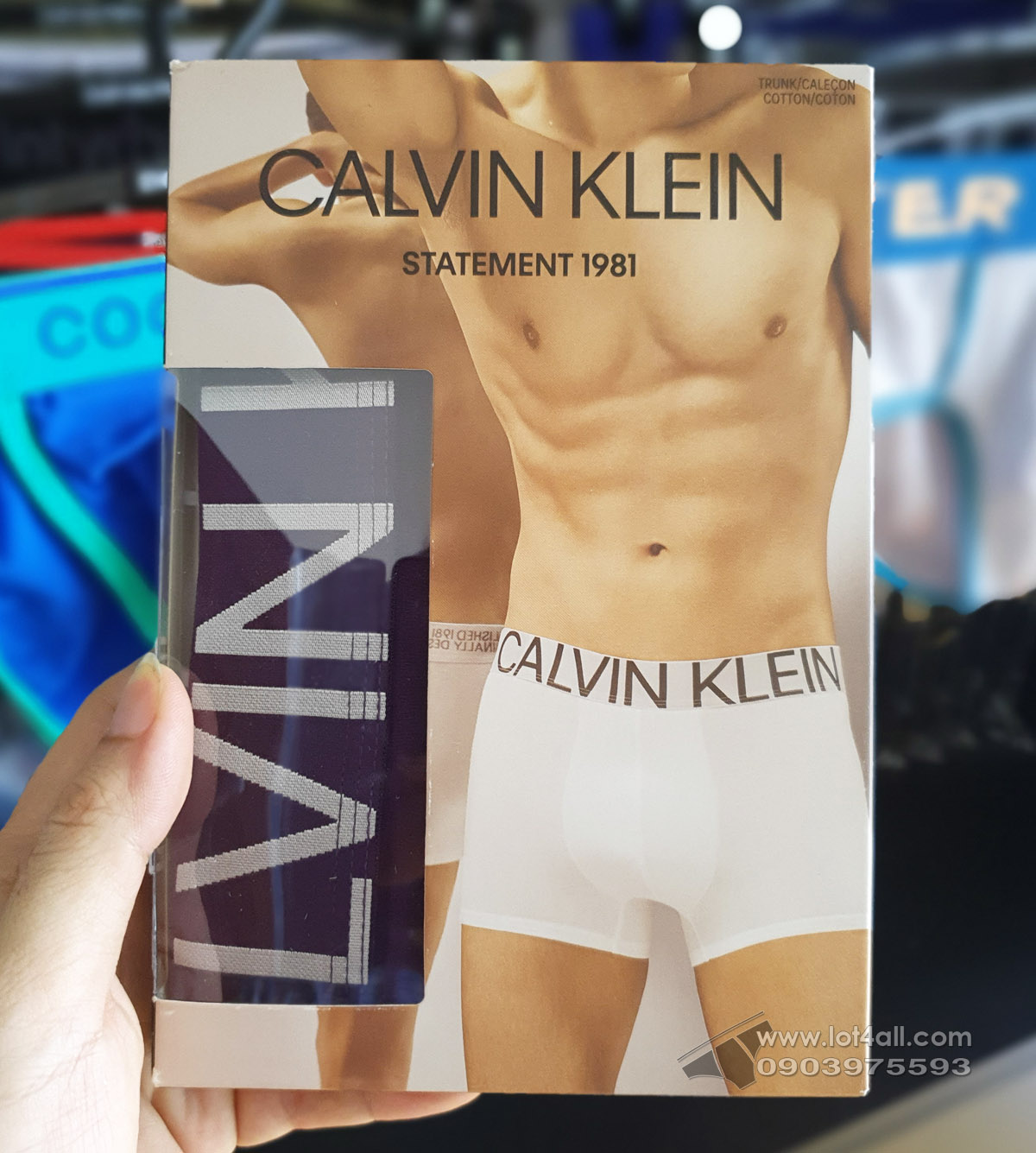 Quần lót nam Calvin Klein NB1703 Statement 1981 Cotton Low Rise Trunk Purple