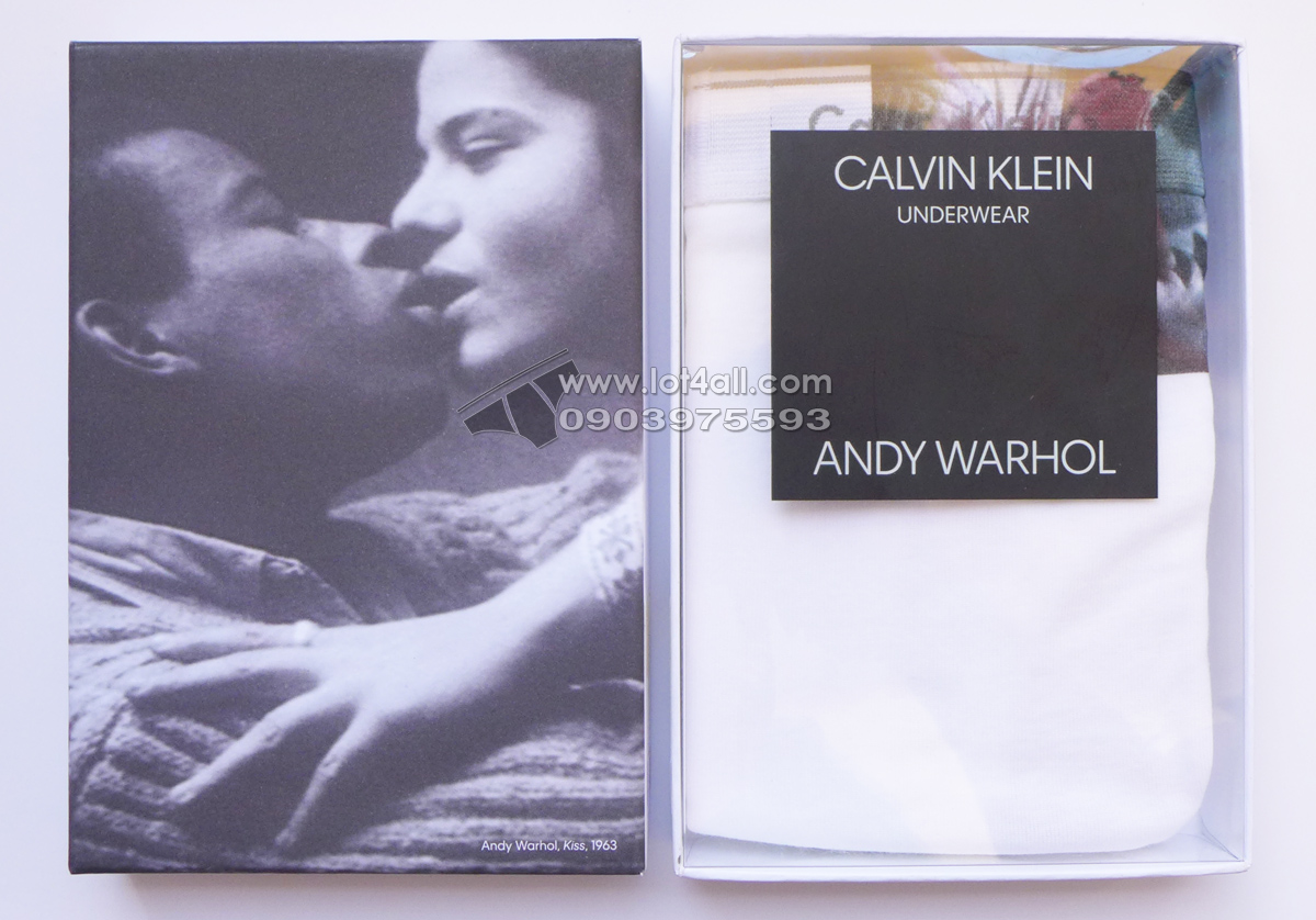 Quần lót Calvin Klein NB1789 Andy Warhol Kiss 1963 Brief White