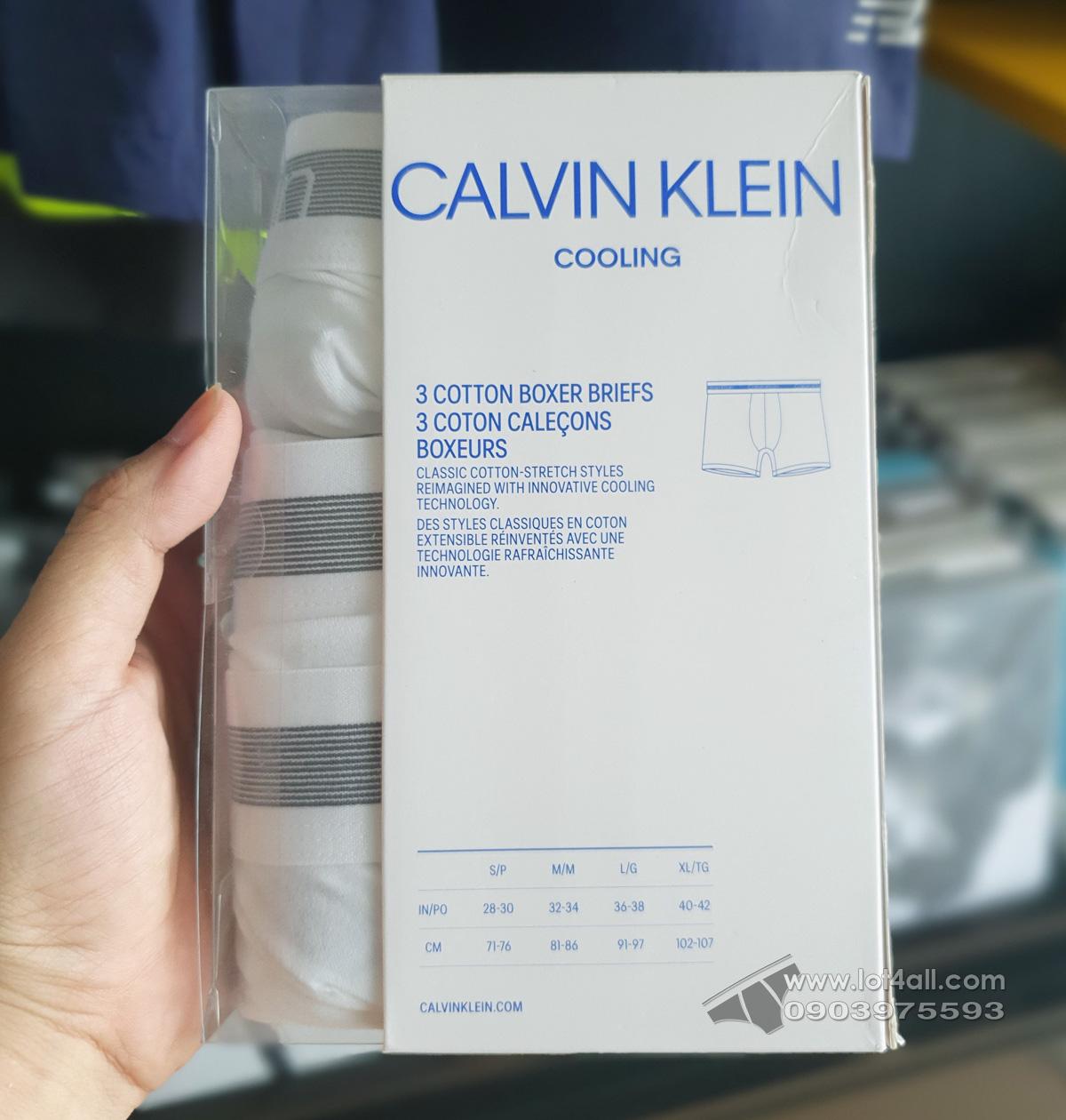 Quần lót nam Calvin Klein NB1799 Cooling Cotton Boxer Brief 3-pack White