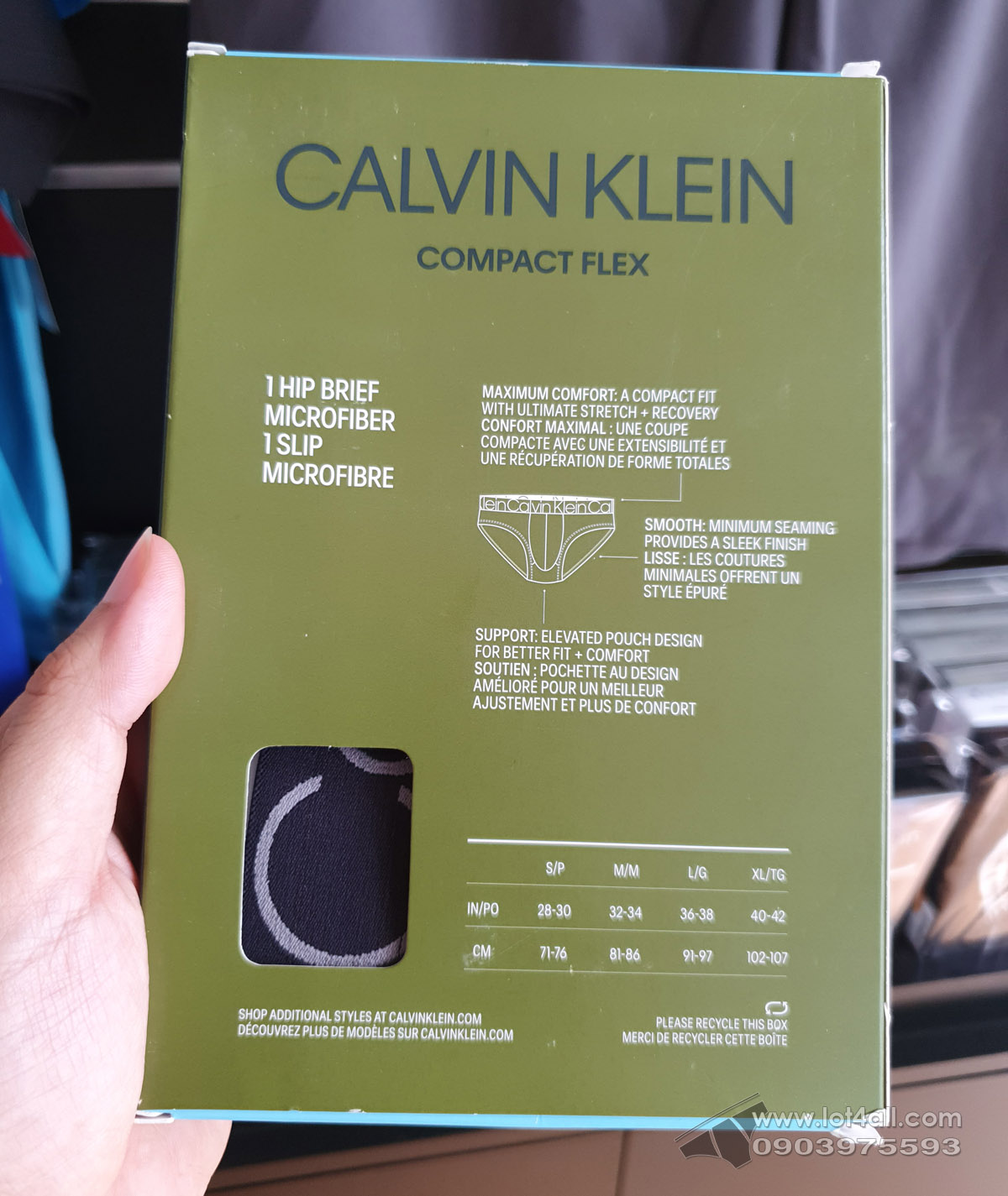 Quần lót nam Calvin Klein NB1905 Compact Flex Micro Hip Brief Black