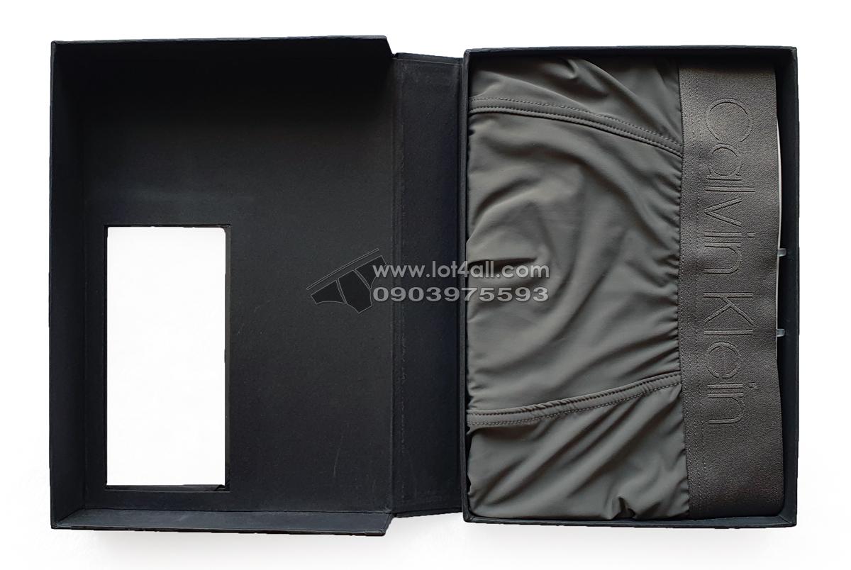 Quần lót nam Calvin Klein NB1929 CK Black Microfiber Low Rise Trunk Grey Sky