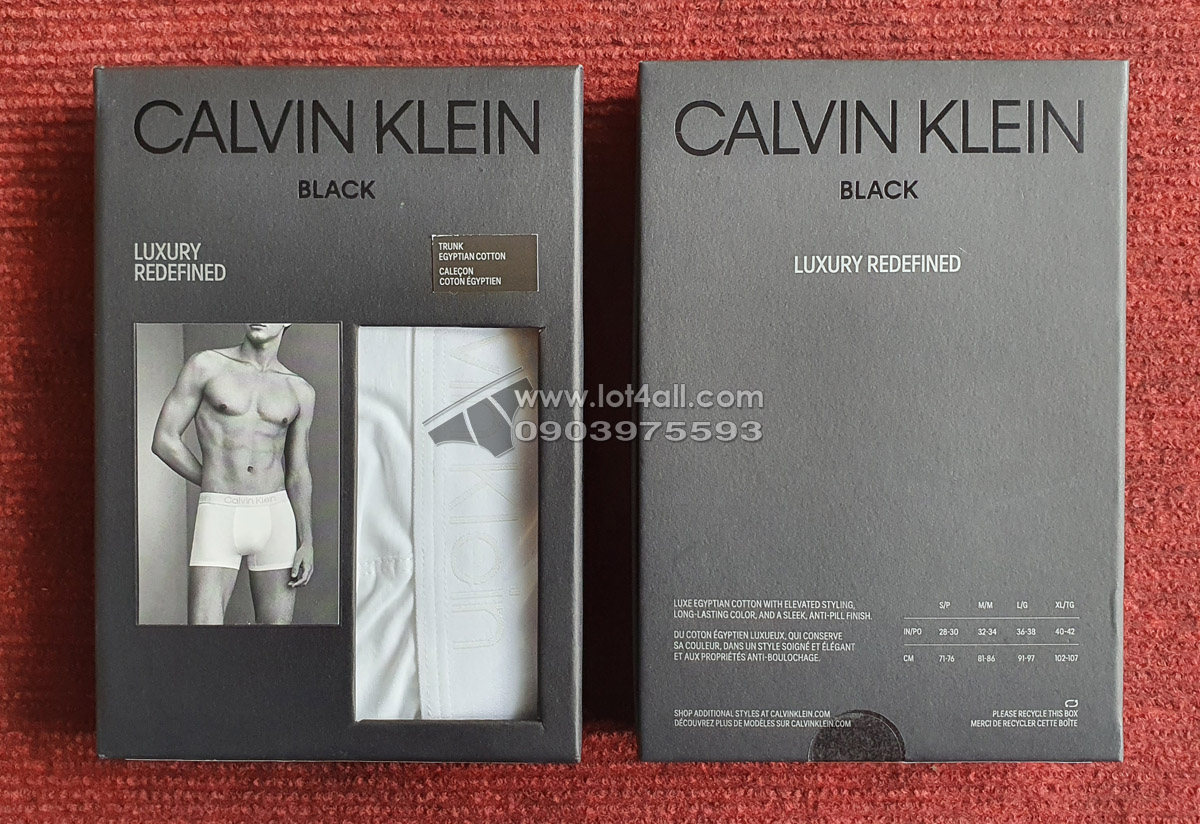 Quần lót nam Calvin Klein NB1932 CK Black Cotton Trunk White