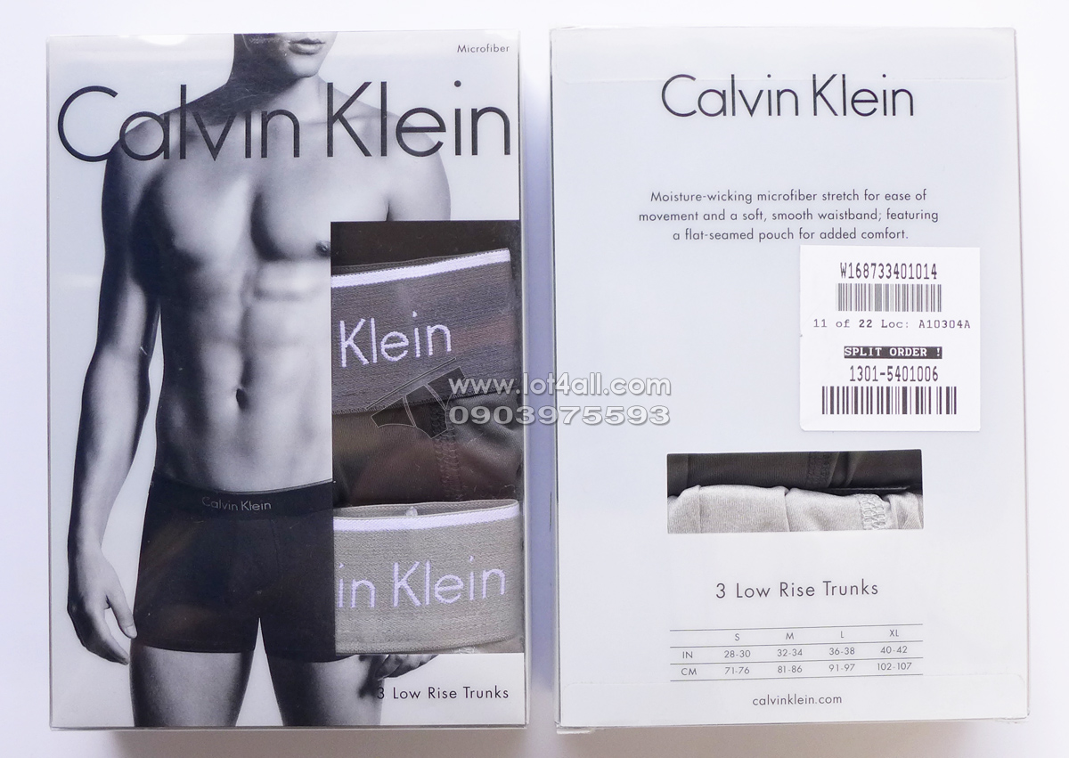 Quần lót nam Calvin Klein NP2034O Micro Low Rise Trunk Black/Grey/Silver