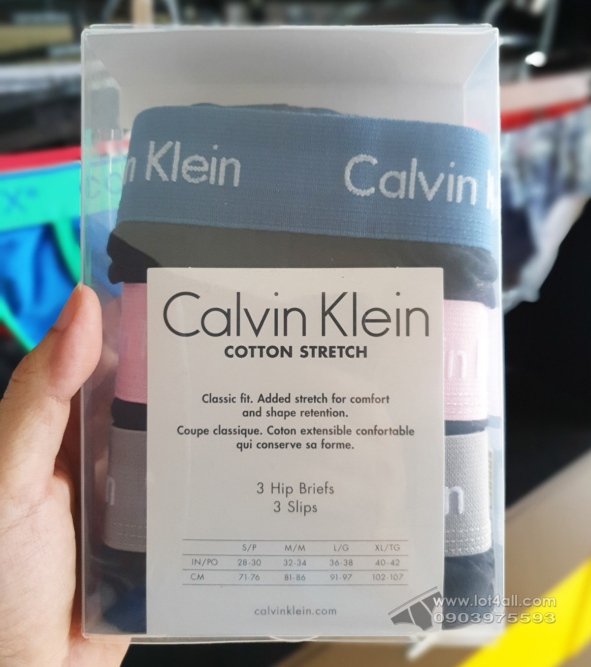 Quần lót nam Calvin Klein NU2664 Cotton Stretch Hip Brief 3-pack Black HYACYN
