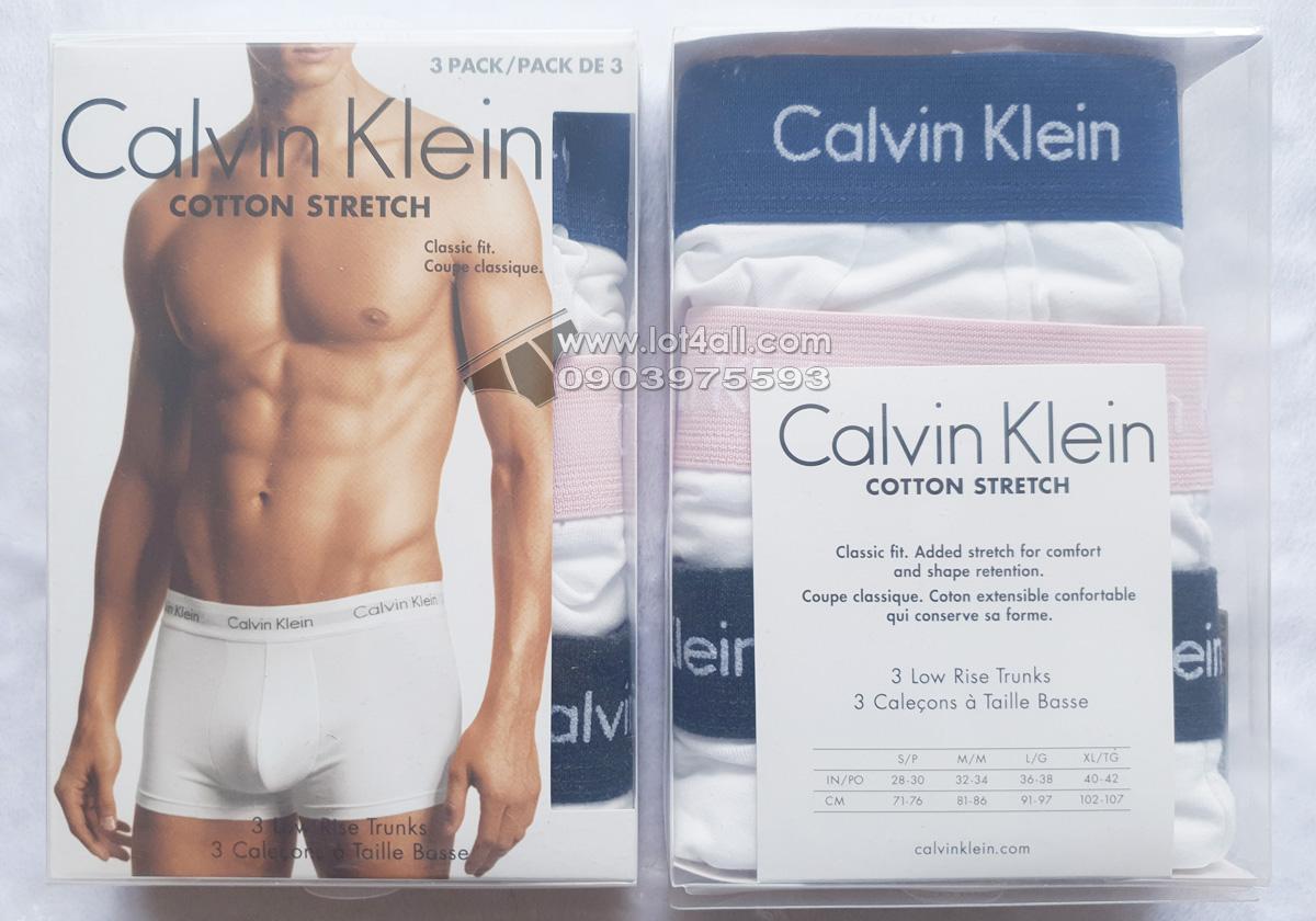 Quần lót nam Calvin Klein NU2664-152 Cotton Stretch Low Rise Trunk White